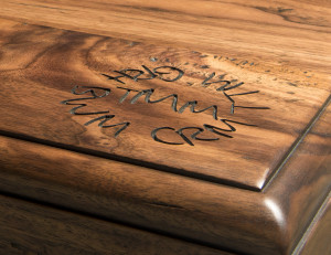 Engraved wood countertops