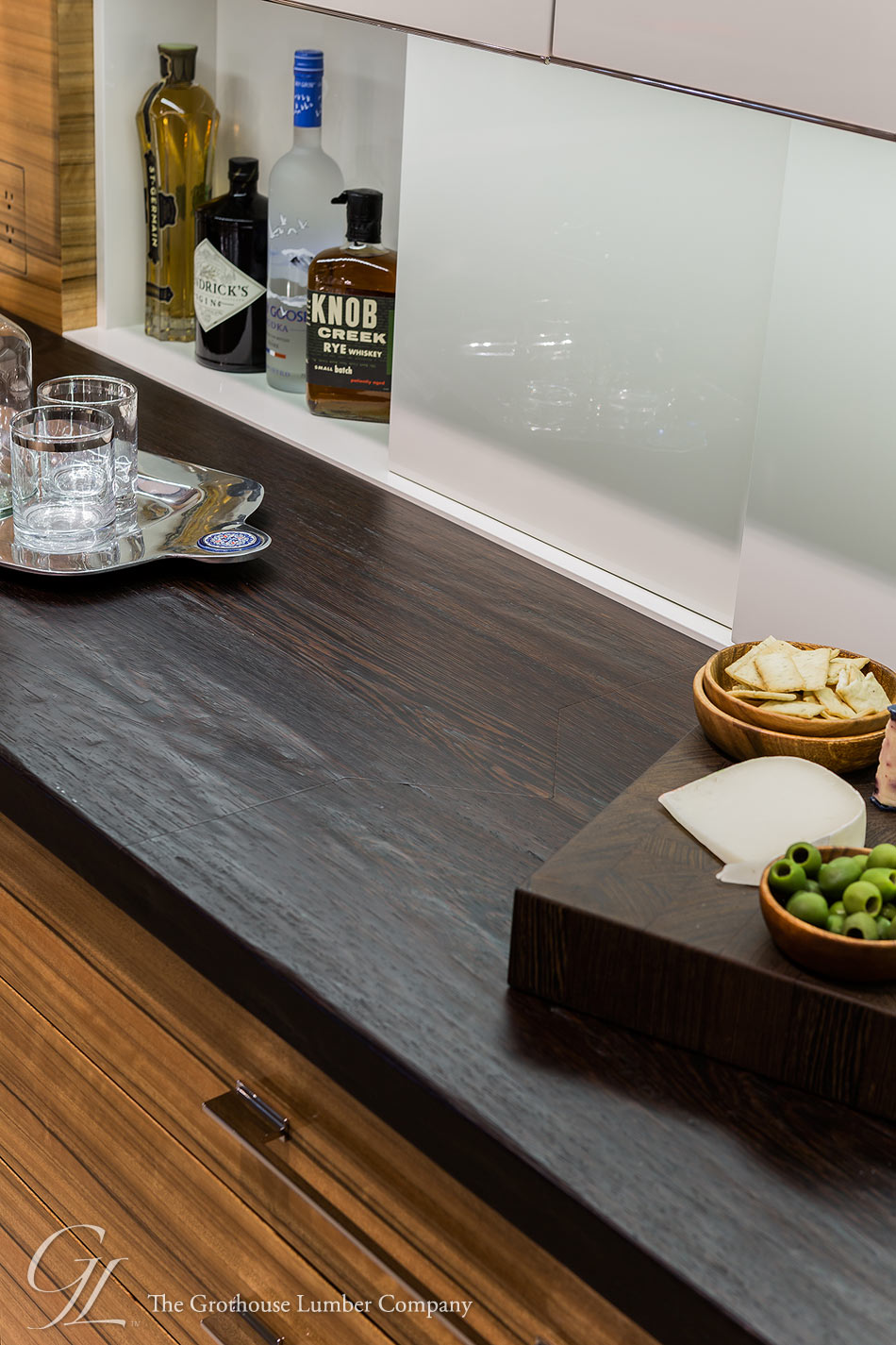 Wenge Dark Wood Countertops with Hand Planed Distressing