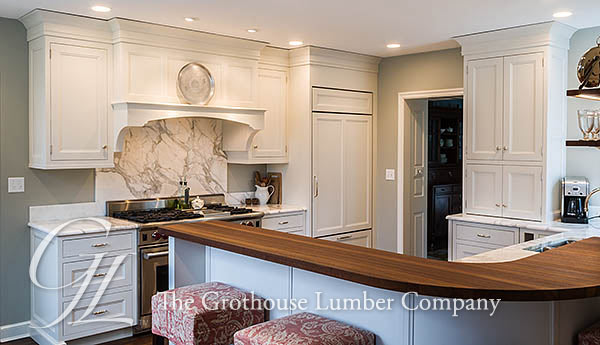 Iroko Wood Countertop design for transitional kitchen by Past Basket Design