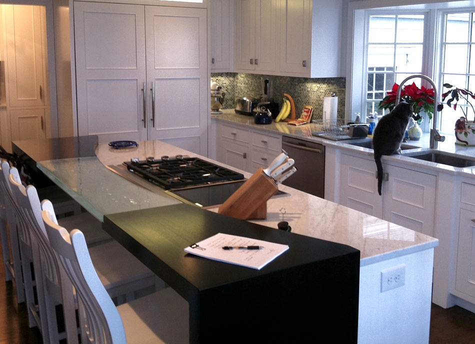 Stained Ash wood countertop by Grothouse