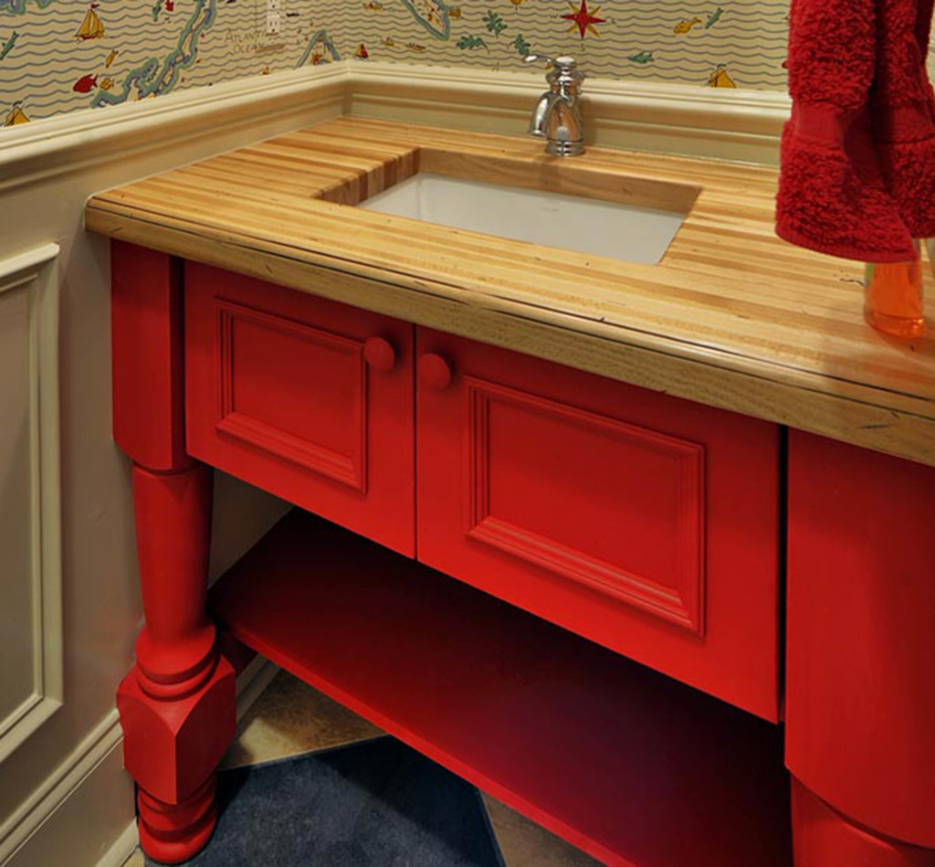 Distressed Wood Countertops for bathrooms by Grothouse