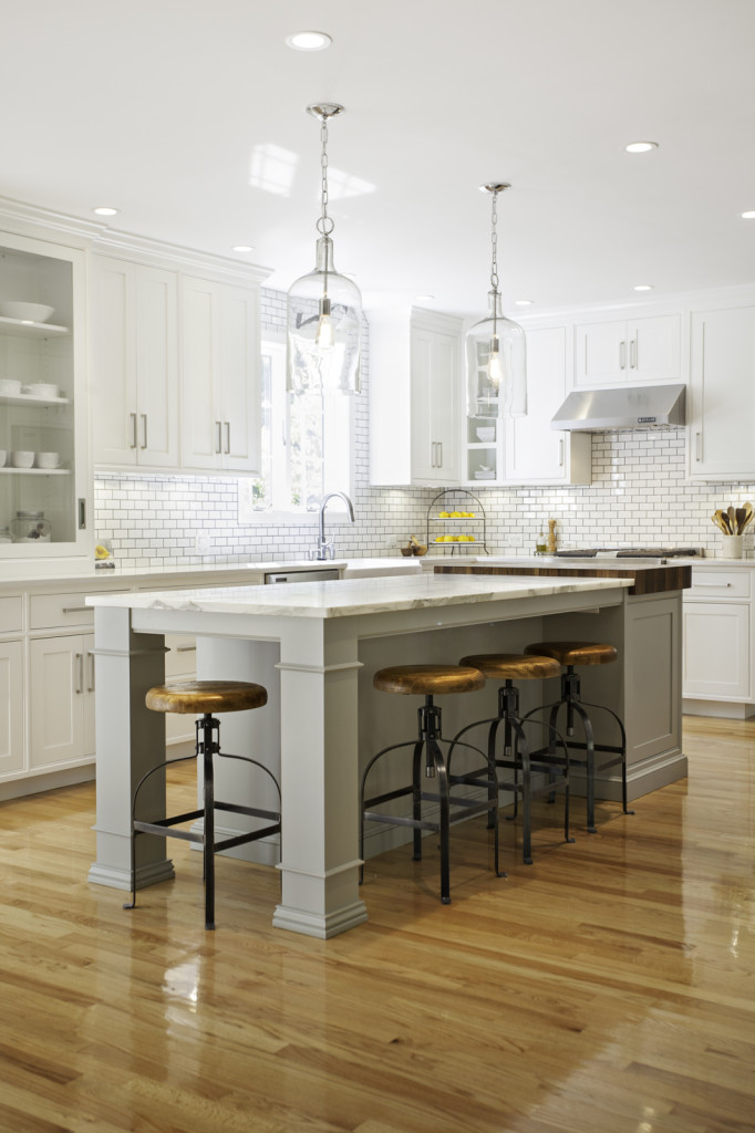 Custom butcher block in a kitchen designed by new england for Butcher block manufacturers