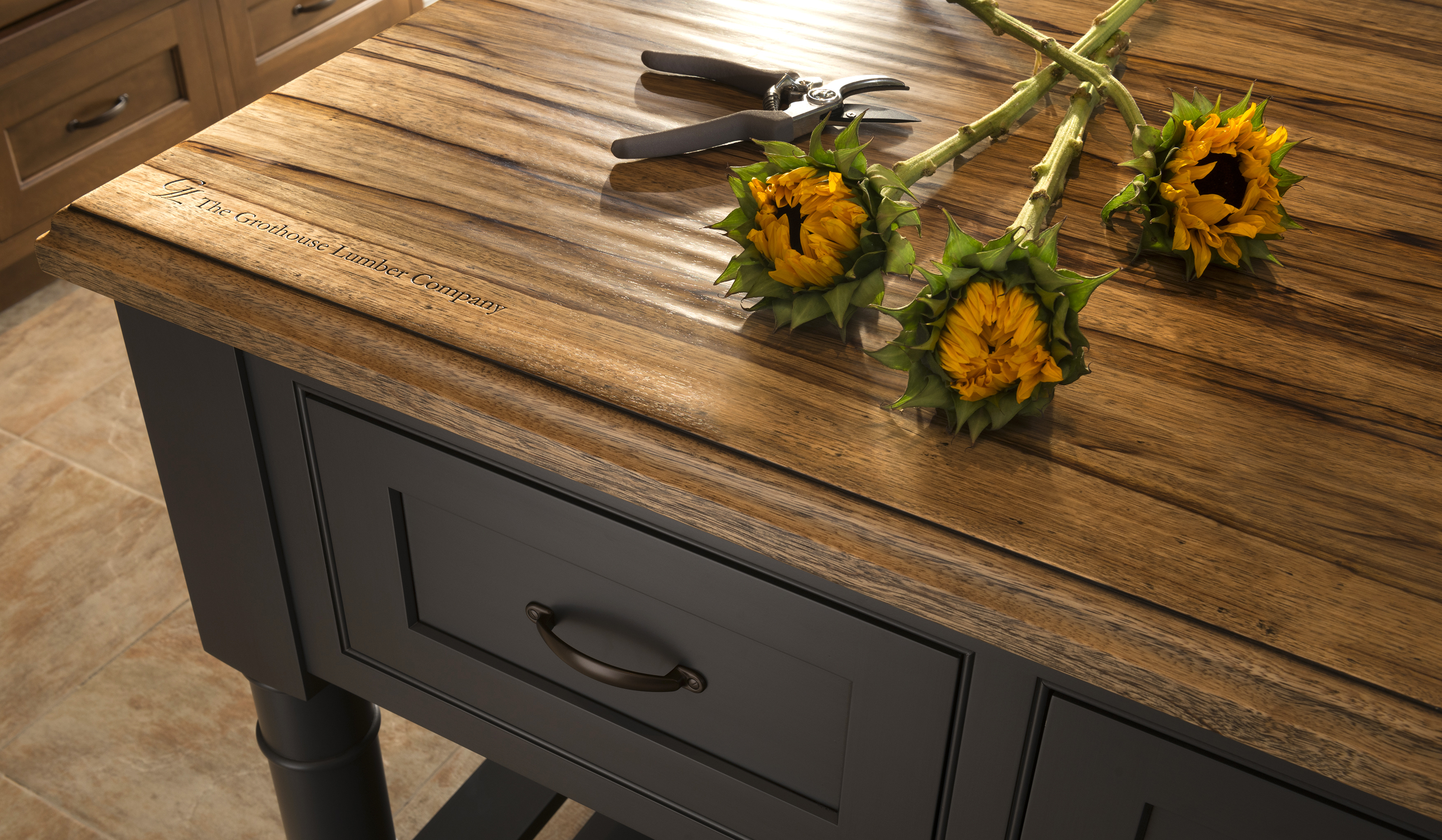 Rustic Countertop with Hand Planed Distressing designed by Wood-Mode