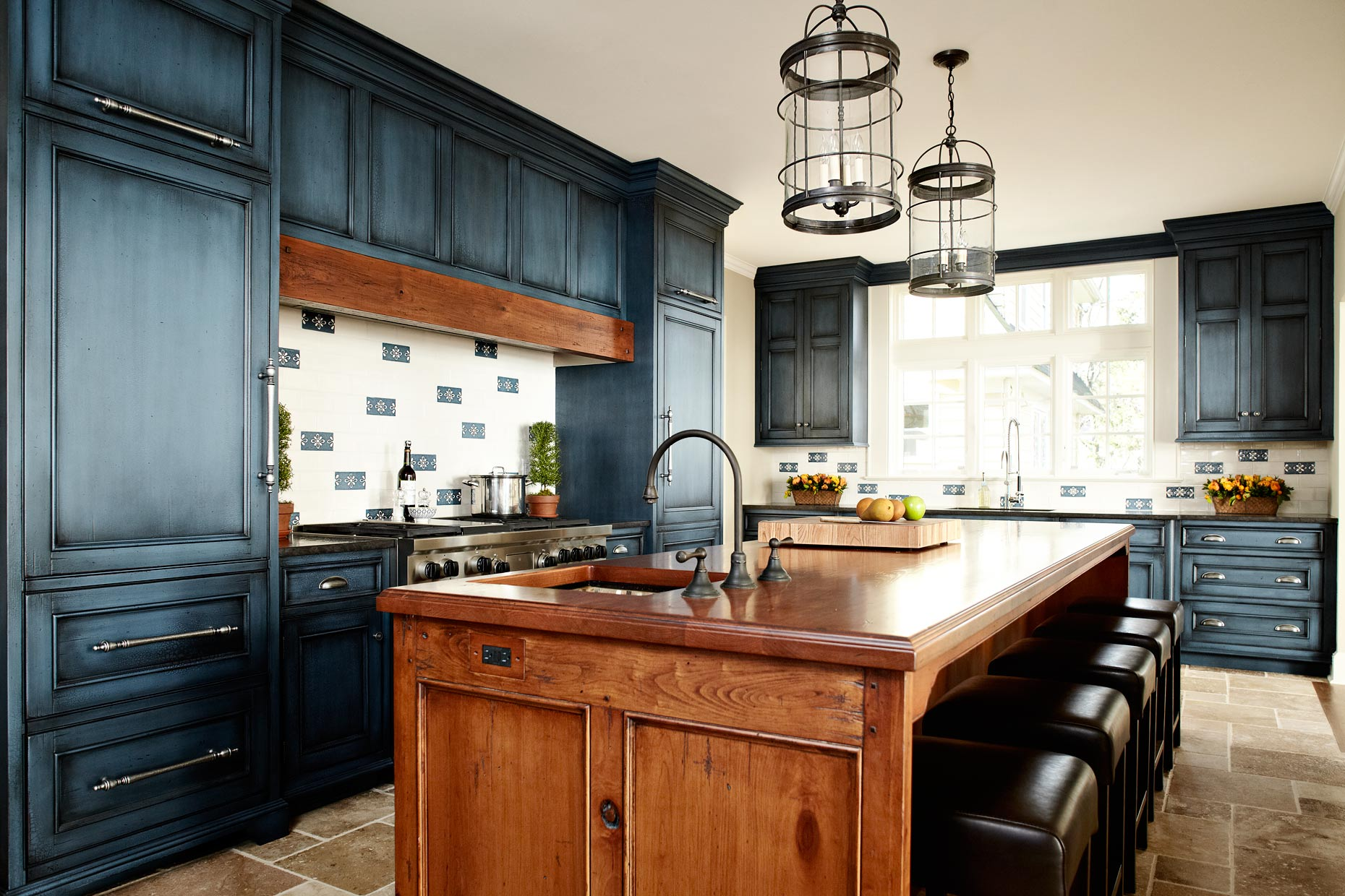 Reclaimed wood countertops wood countertop butcherblock for Dark blue kitchen paint