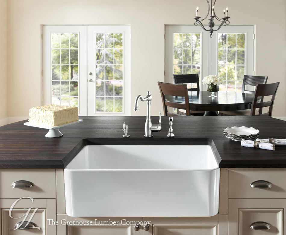 Wood Countertops with Sinks, Wenge Wood Countertop with Farmhouse Sink