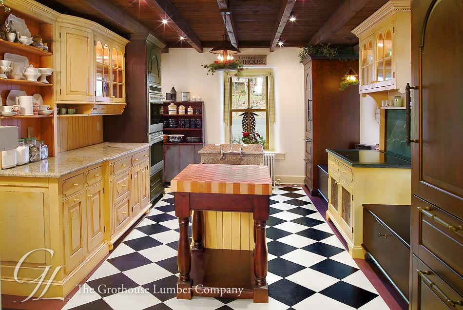 Checkerboard Butcher Blocks Kitchen Island End