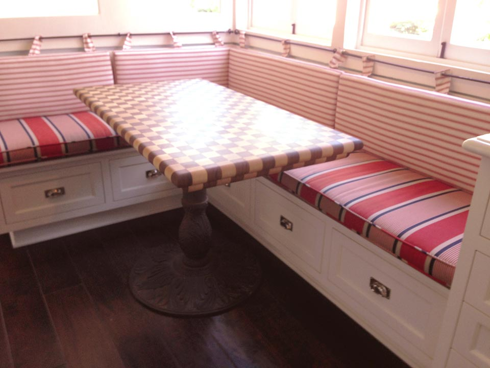 Checkerboard Butcher Blocks used as Tables