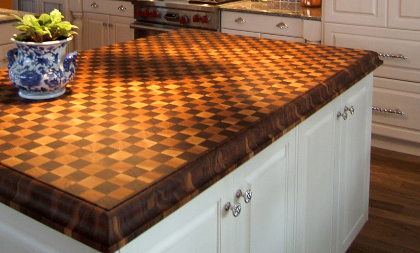Checkerboard Butcher Blocks for the Kitchen Island