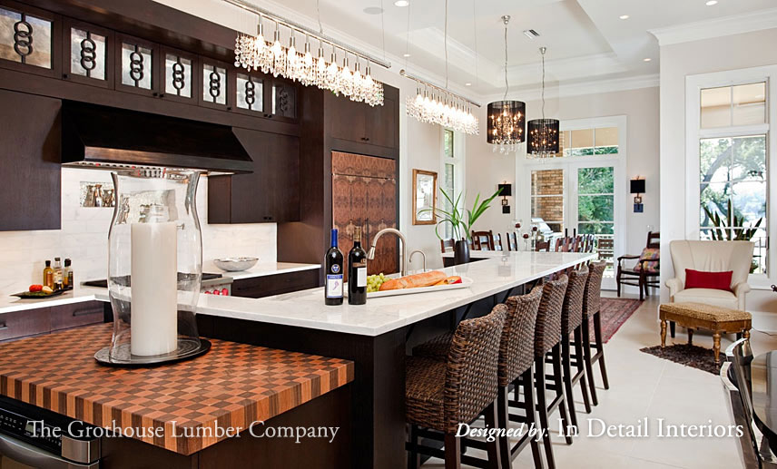 Checkerboard Butcher Blocks for End of Kitchen Islands