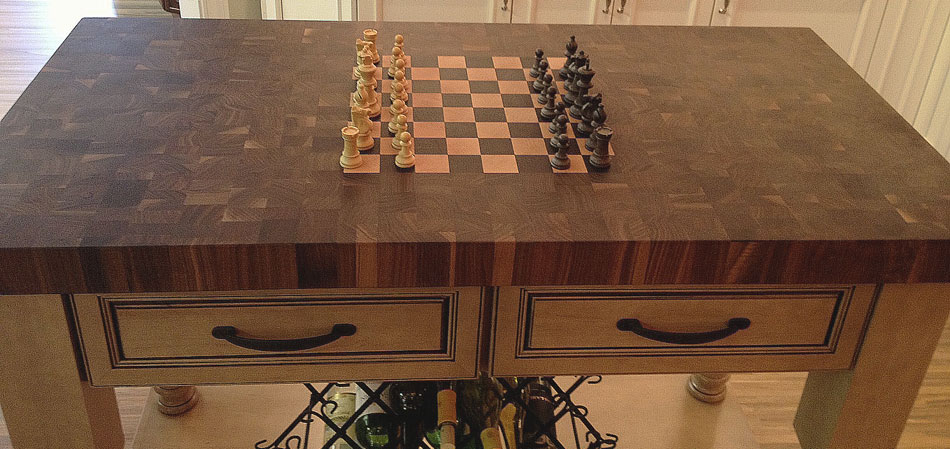 Checkerboard Butcher Block Chess Board