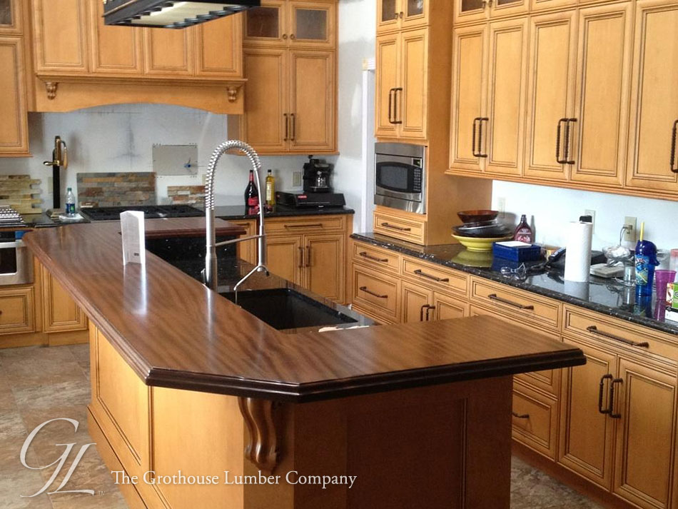 Custom Sapele Mahogany Super Distressed Wood Countertops