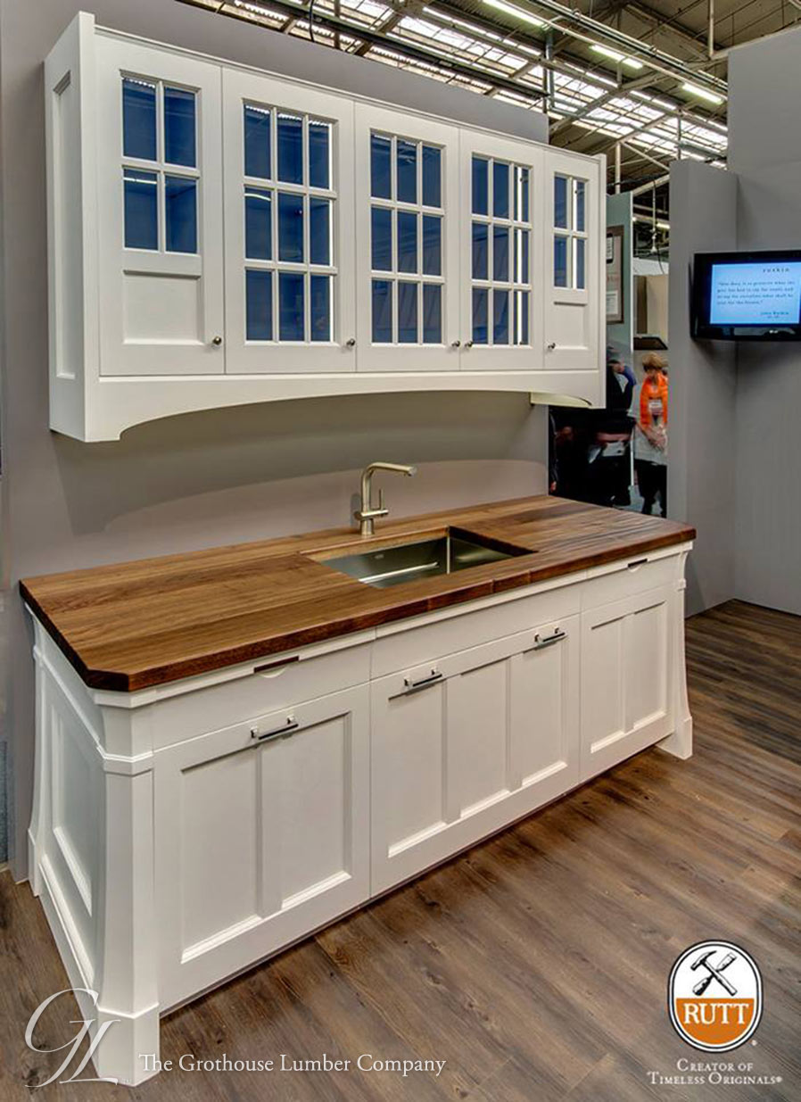 Walnut Wood Countertops with White Cabinetry