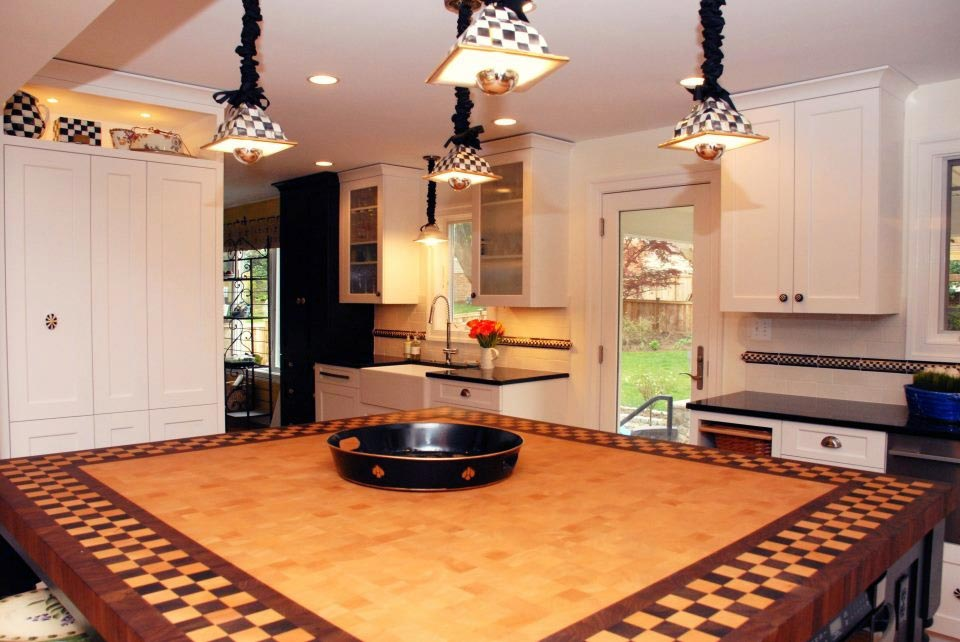 Wood Countertop Checkerboard Pattern