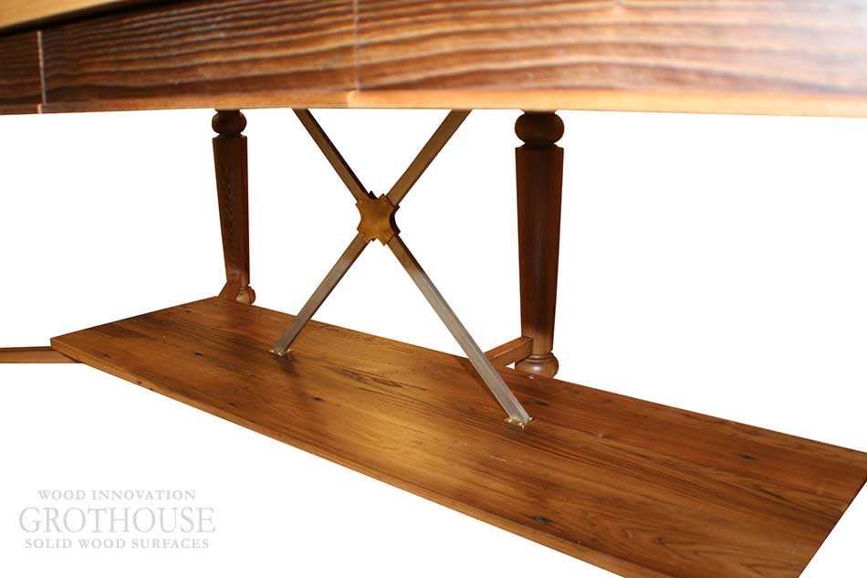 Reclaimed Wood Tables with Stainless Steel Table Support