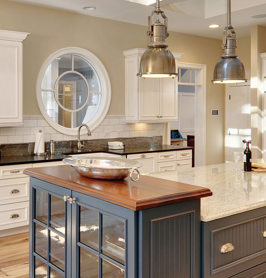 Wood Countertops With Blue Cabinetry Wood Countertop