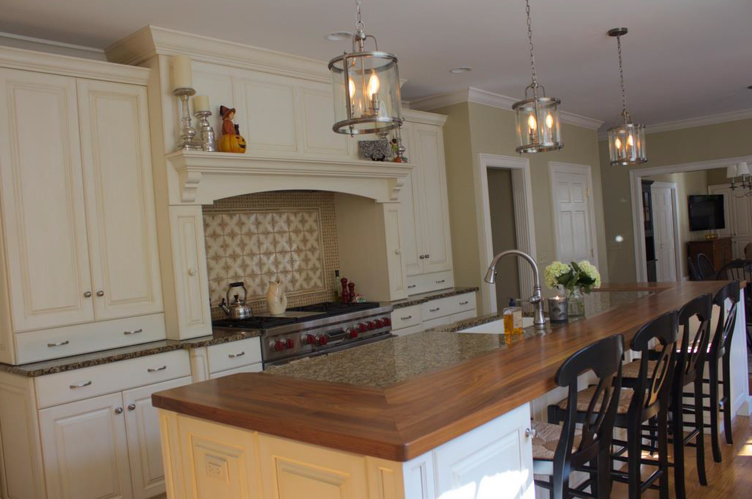 White Kitchens with Walnut Wood Countertop