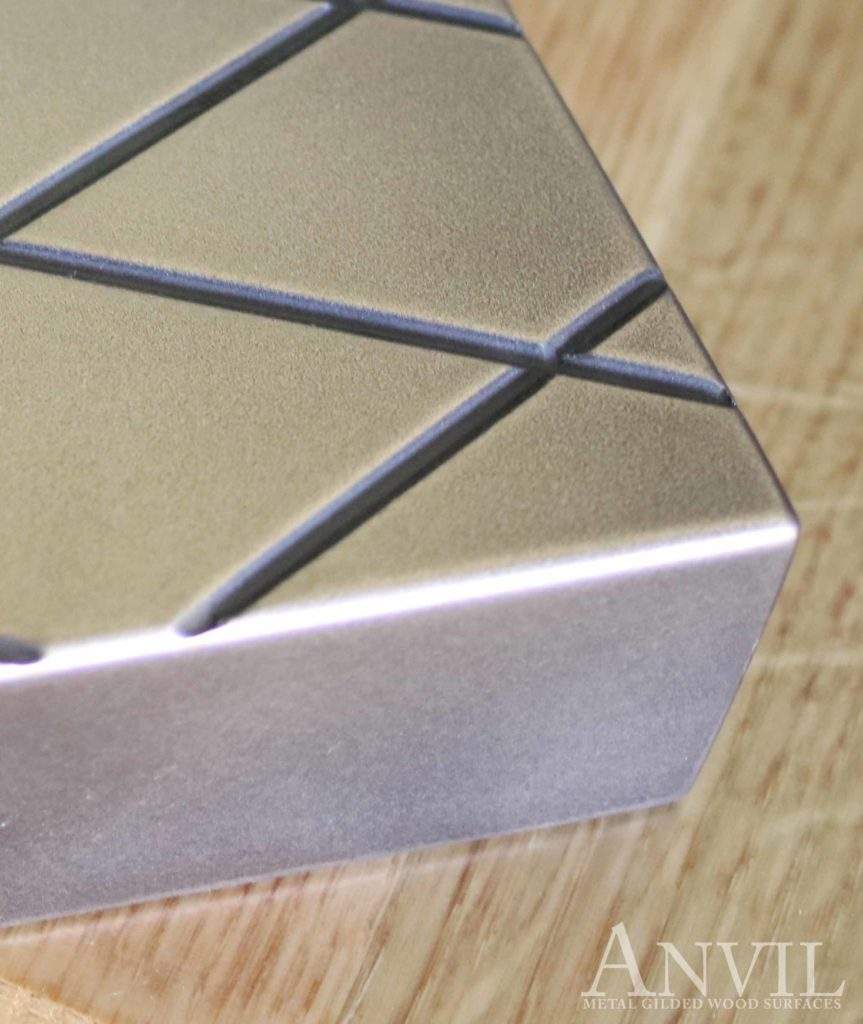 Engraved Metal Countertops with Diamond Pattern