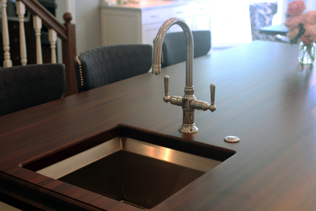 Peruvian Walnut Wood Countertop with a Kohler Sink