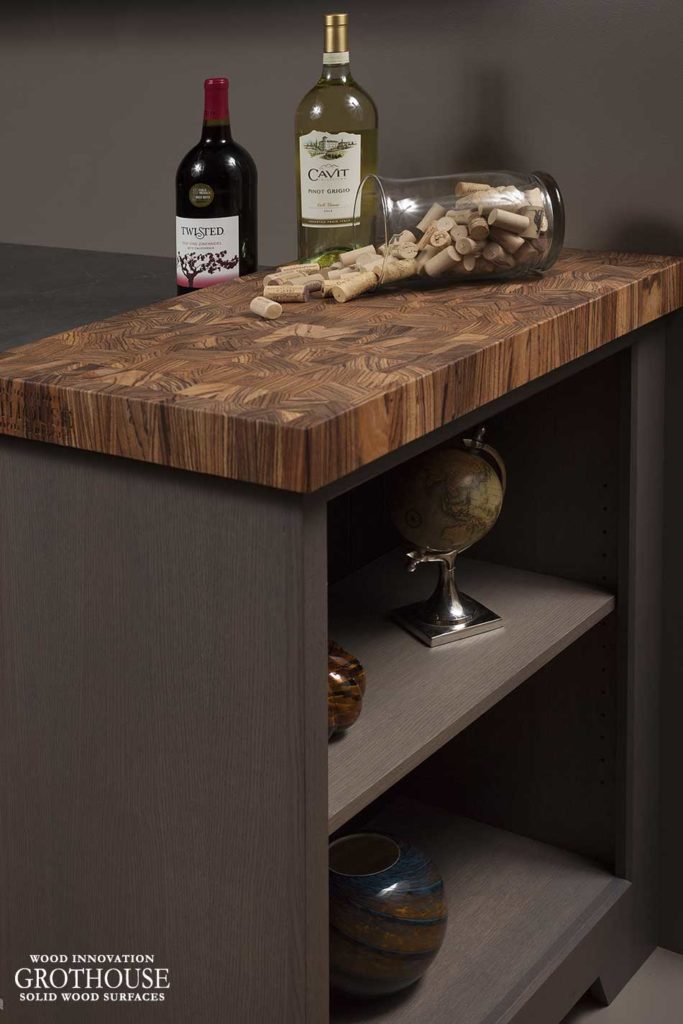 Zebrawood Butcher Block for Gray Cabinets
