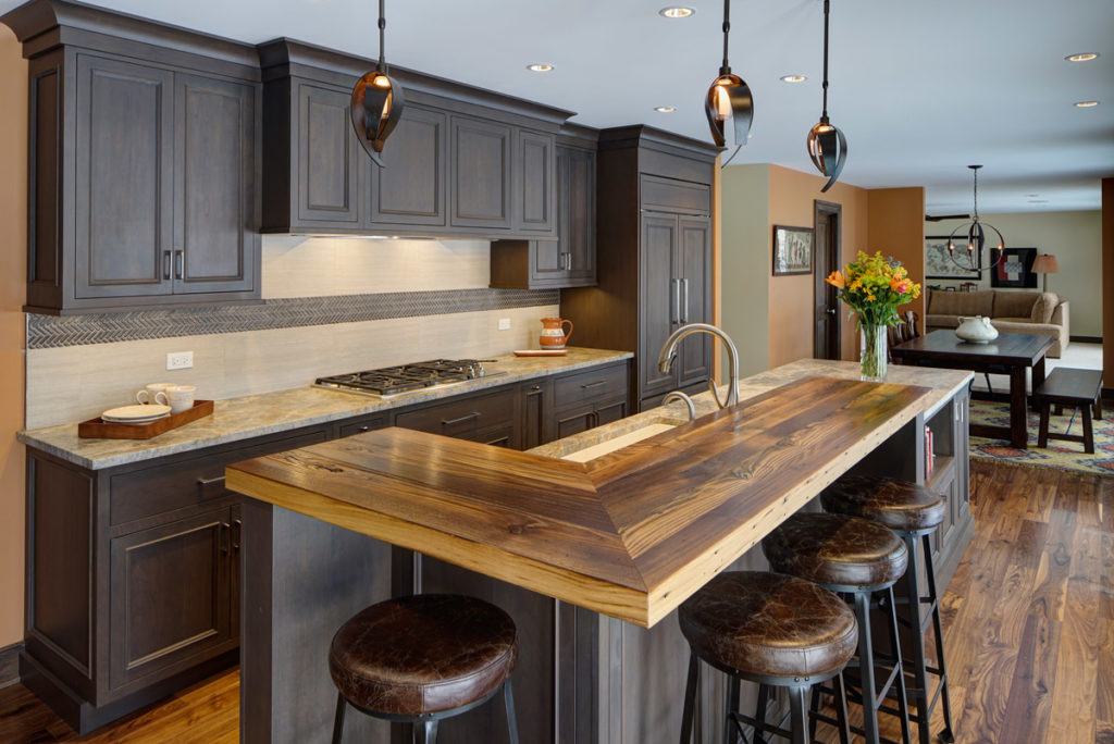 Custom Reclaimed Chestnut Bar Top designed by Drury Design Kitchen and Bath Studio