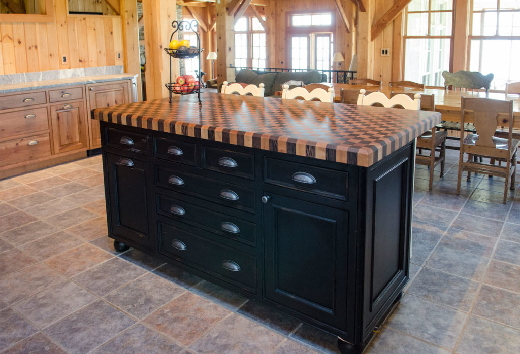 Rustic kitchen with a Wenge and Cherry Checkerboard Butcher Block