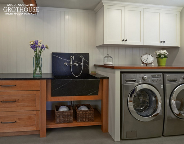 Custom Wood Counters designed to complete Laundry Room Tasks