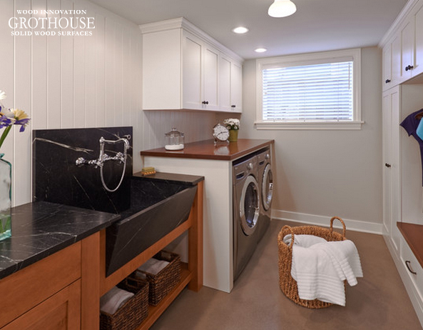 Custom African Mahogany Countertops designed for Laundry Rooms