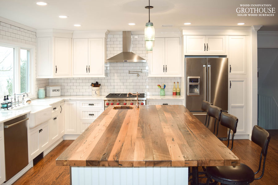 MModern Farmhouse Kitchen with a Reclaimed Chestnut Countertop designed by Coastal Cabinet Works