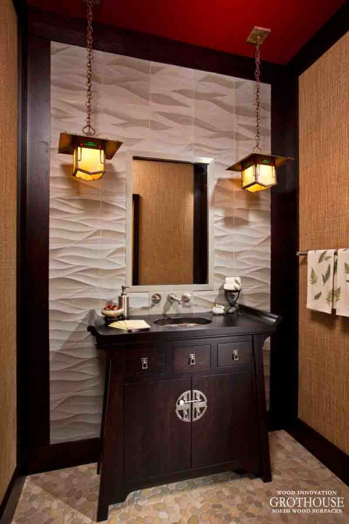 Powder Room Vanity Countertops | Design by Teakwood Builders