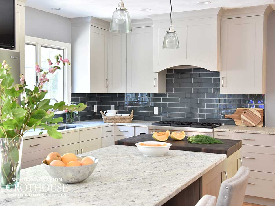 Combining Persa Avorio Leathered Granite And Wenge Wood Kitchen Countertop  Materials