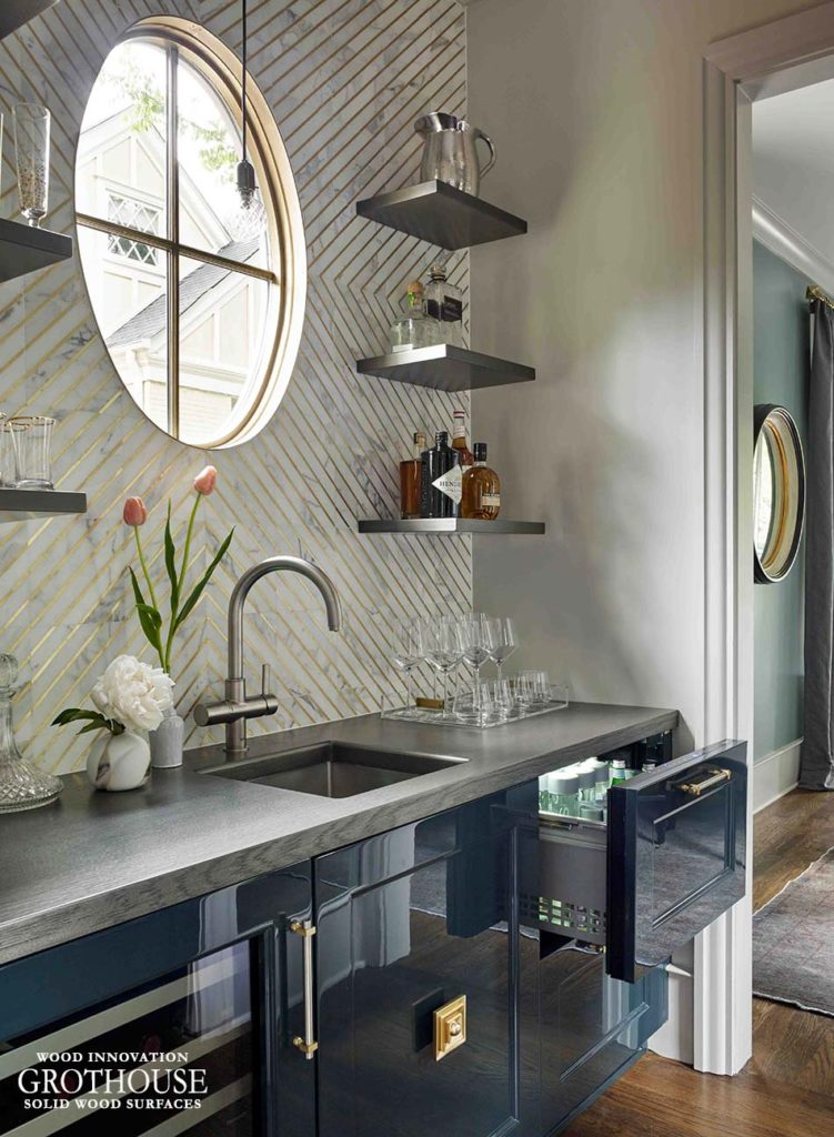 Bar Top Idea choose an Anvil Metal Finish to create the look of a metal countertop