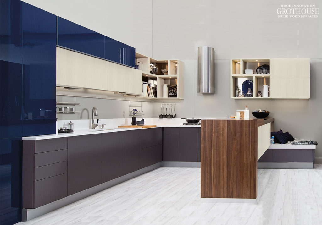 Walnut Wood Waterfall Table designed by Wellborn Cabinet for KBIS 2017