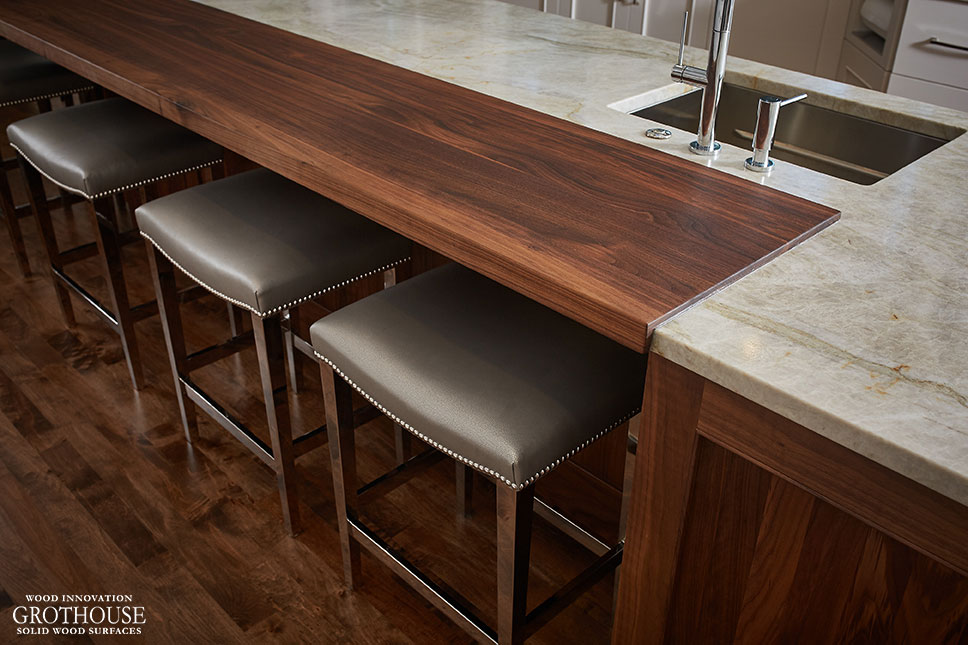 Walnut Countertop with Oil Finish for a transitional kitchen island designed by TruKitchens