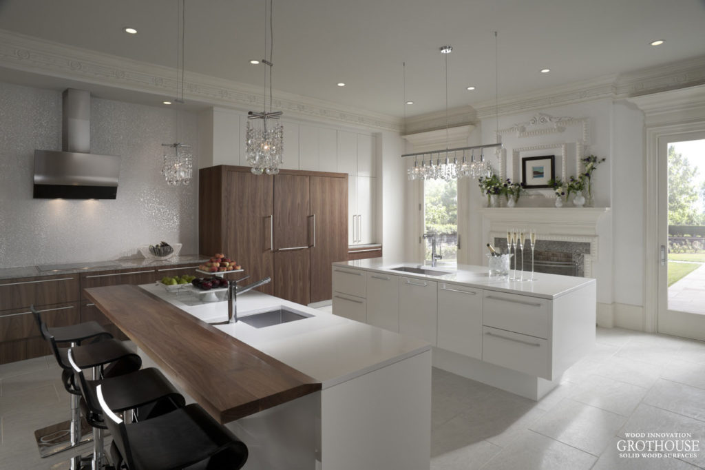 Wood Modern Kitchen Countertops in White Kitchen Design