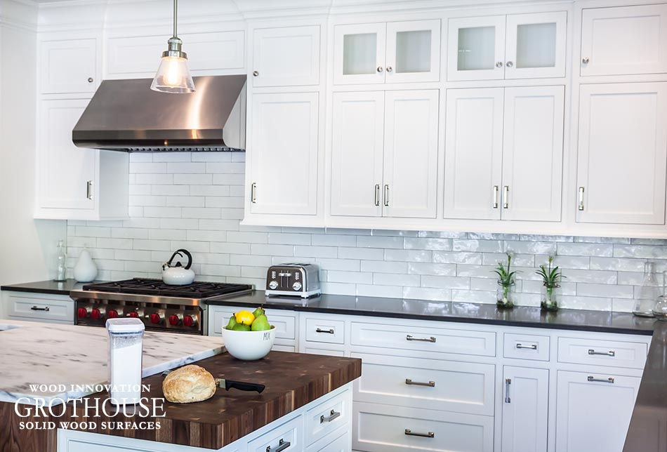 White Kitchen Butcher Block : Black White Kitchens with Wood Countertops and Butcher Blocks