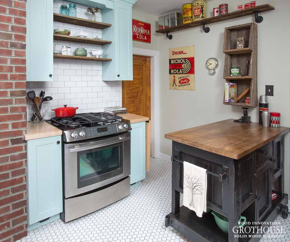 Maple Kitchen Countertops: Subway Tile Backsplash With Wood Countertops And Butcher