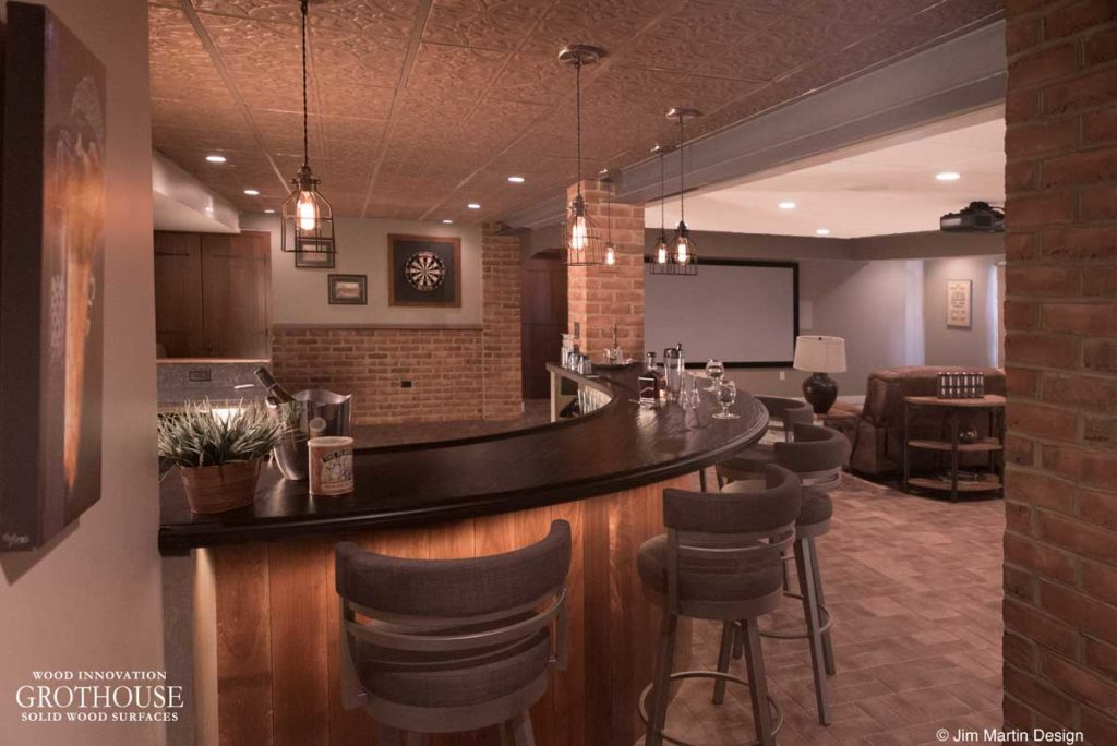 Wenge Wood Basement Bar Top designed by Jim Martin of Jim Martin Design