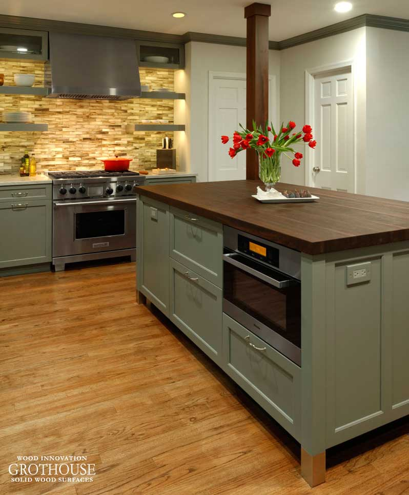 Kitchen Island Top: Wood Countertop, Butcherblock And Bar