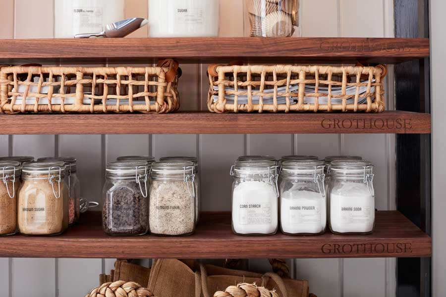 Declutter Kitchen Countertops by utilizing shelves