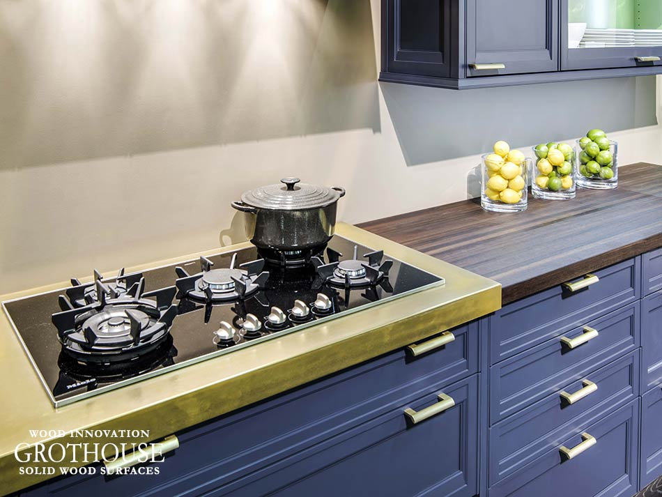 Brass Fixtures with Anvil Magnum Metal Countertop and Peruvian Walnut Countertop