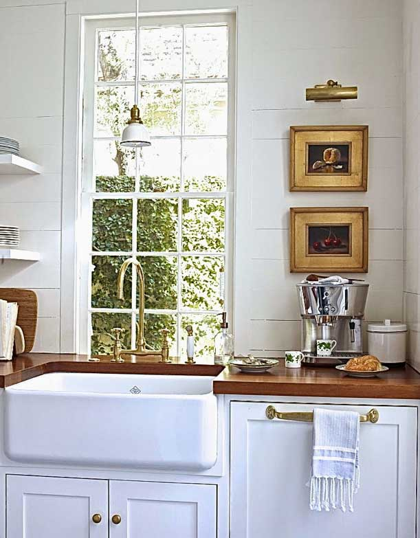 Kitchen Designs with Brass Fixtures and Wood Countertops