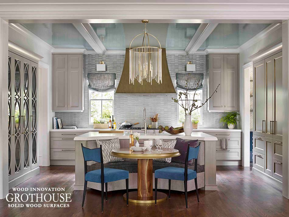 Kitchen Design with Brass Fixtures and Walnut Wood Table