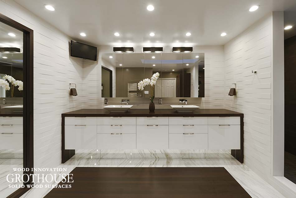Wenge Waterfall Countertops for a master bath designed by Jennifer Gilmer Kitchen & Bath