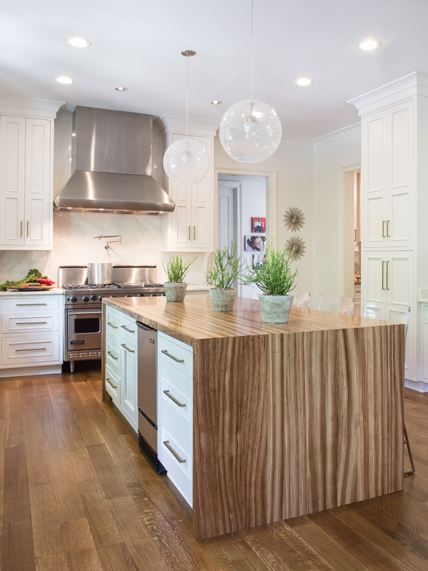Zebrawood Waterfall Countertop Designed By Kitchens Unlimited