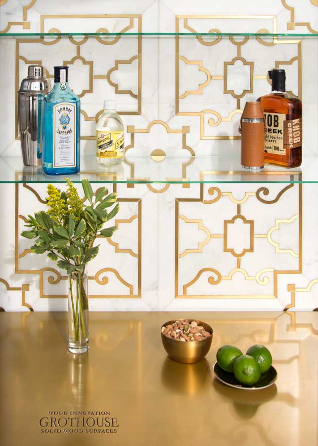 Magnum Brass Metal Countertop designed by New Ravenna