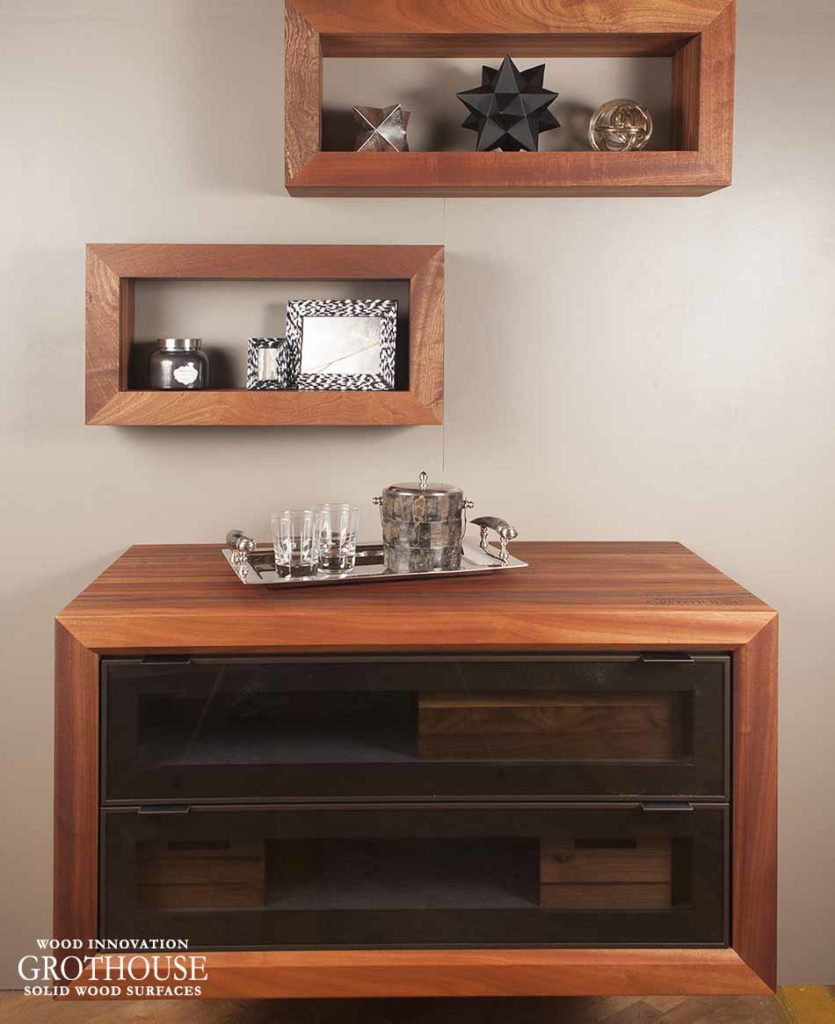 Shadow Box Wood Shelving designed by Signature Custom Cabinetry