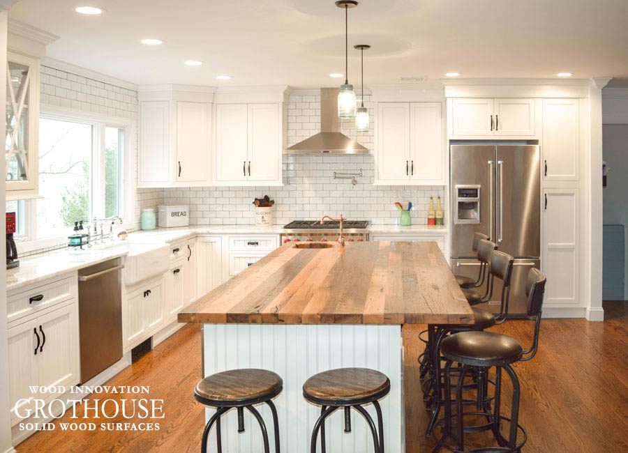 Reclaimed Wood Kitchen Bar Tops for kitchen islands in farmhouse style kitchen designs