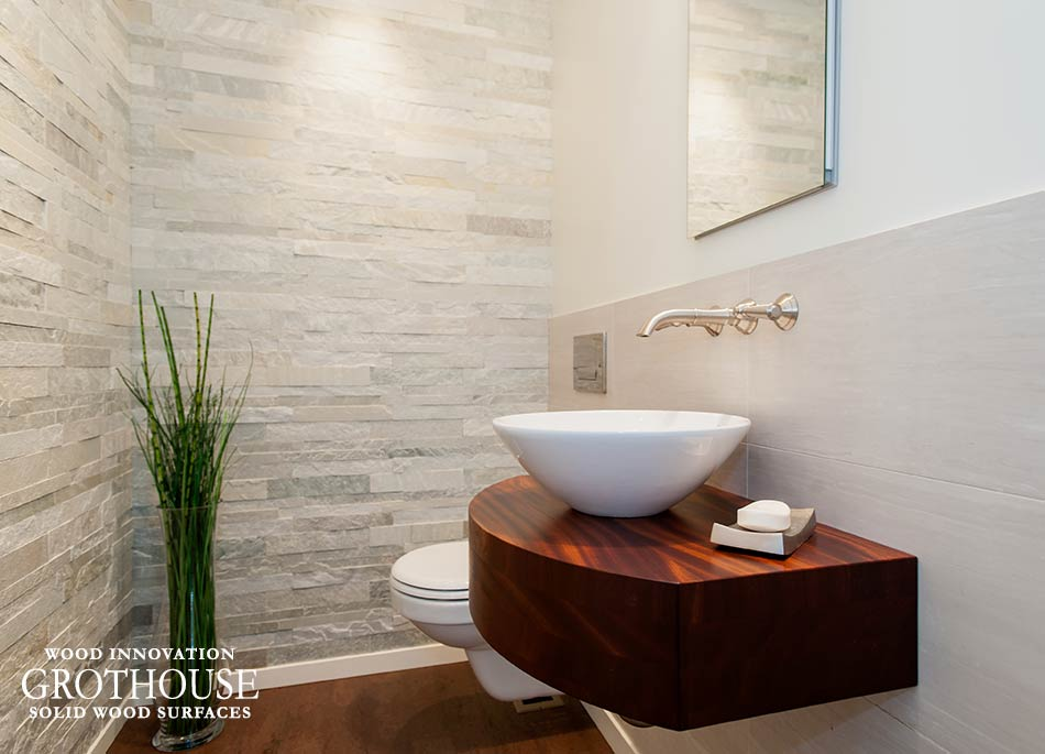 Vessel Sinks on Wood Bathroom Countertops designed by Jennifer Gilmer Kitchen and Bath