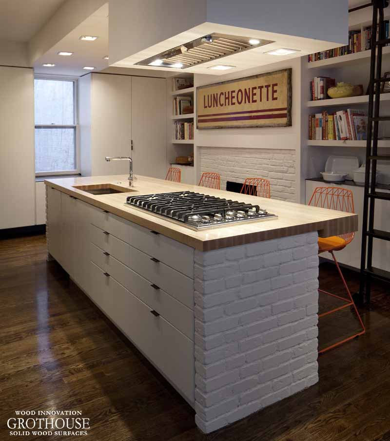 Exposed White Brick Kitchen Design By Chris Greenawalt Of Bunker Workshop  With Maple Countertop