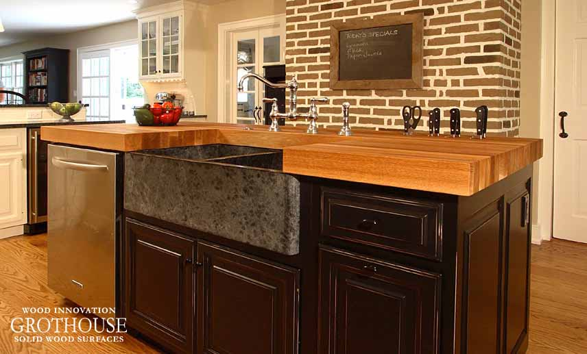 Exposed Brown Brick in kitchen design with White Oak countertop